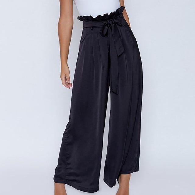 MUQGEW Trousers for women streetwear Bowtie Elastic Sexy High Waist Casual