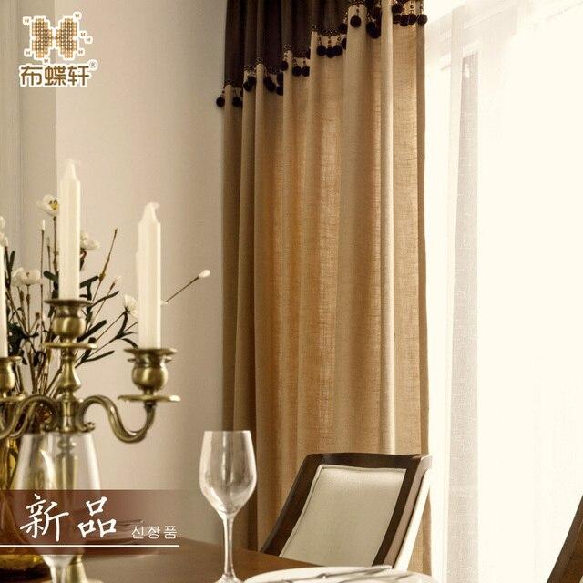 Luxus Vorhang Für Schlafzimmer Elegante Licht Kaffee Fenster Leinen  Vorhänge Für Wohnzimmer Mit Perlen Schöne Vorhänge