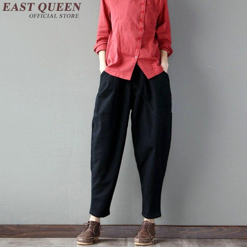 New autumn baggy pants women solid linen trousers women hip hop patchwork harem pants elastic waist pencil trouses KK1035 HQ 5