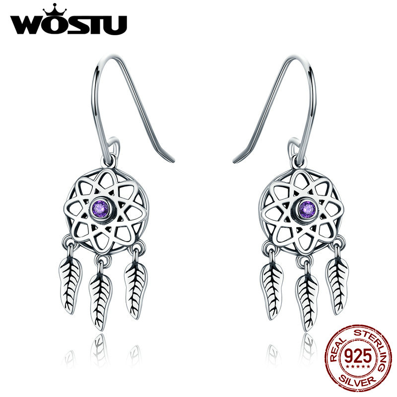 WOSTU Hot Sale 925 Sterling Silver Dreamcatcher Dream catcher Drop Earrings for Women Brand Earring Bohemia Boho Jewelry CQE394 wostu brand original 925 sterling silver lucky sunflower drop earrings for women female fashion earring jewelry gift dxe461