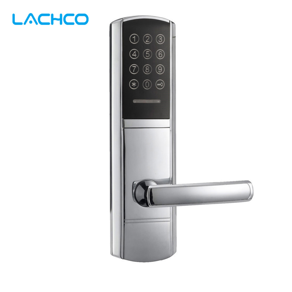 LACHCO Electronic Digital Door Lock Code, Card, Key Touch Screen Keypad Password Lock  L16077BS ospon digital keypad door lock with backup round key locker electronic entry by password code combination password key os7717