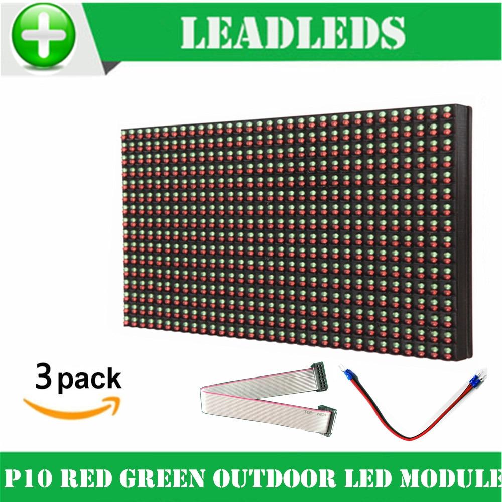 (3 unids/lote) módulo de pantalla led p10 32*16 pixel DIP ROJO + VERDE de doble color al aire libre llevó el panel llevó el tablero de la muestra llevó cartelera pantalla