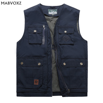 Plus Size L-9XL  Loose Men Vests 2018 New Spring Autumn 100% Cotton Pockets Design Thin Brand Clothing Cargo Casual AFSJEEP