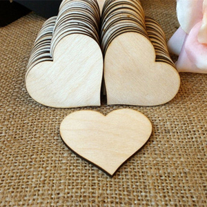 200pcs Wooden Heart Star Kids Birthday Party Supplies DIY Scrapbook Craft Wedding Decoration Valentine'S Day