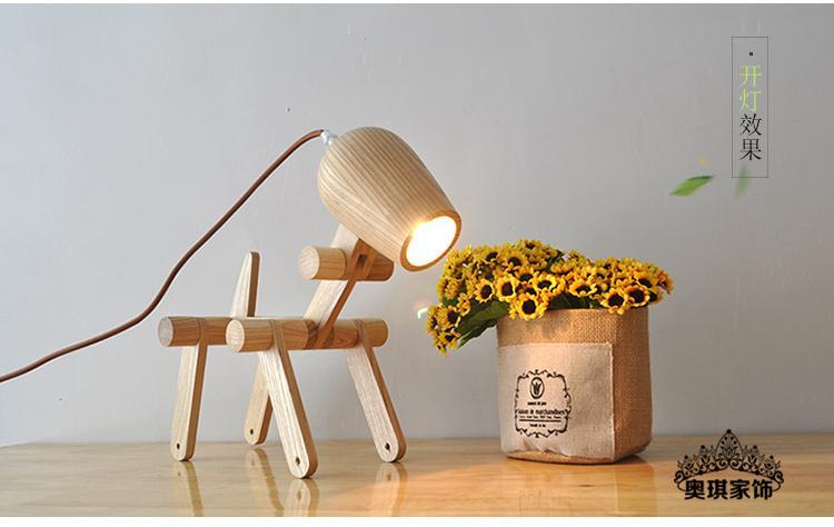 wooden dog lamp simple bedroom bedside lamps study lamp folding wooden logs lighting YA72610