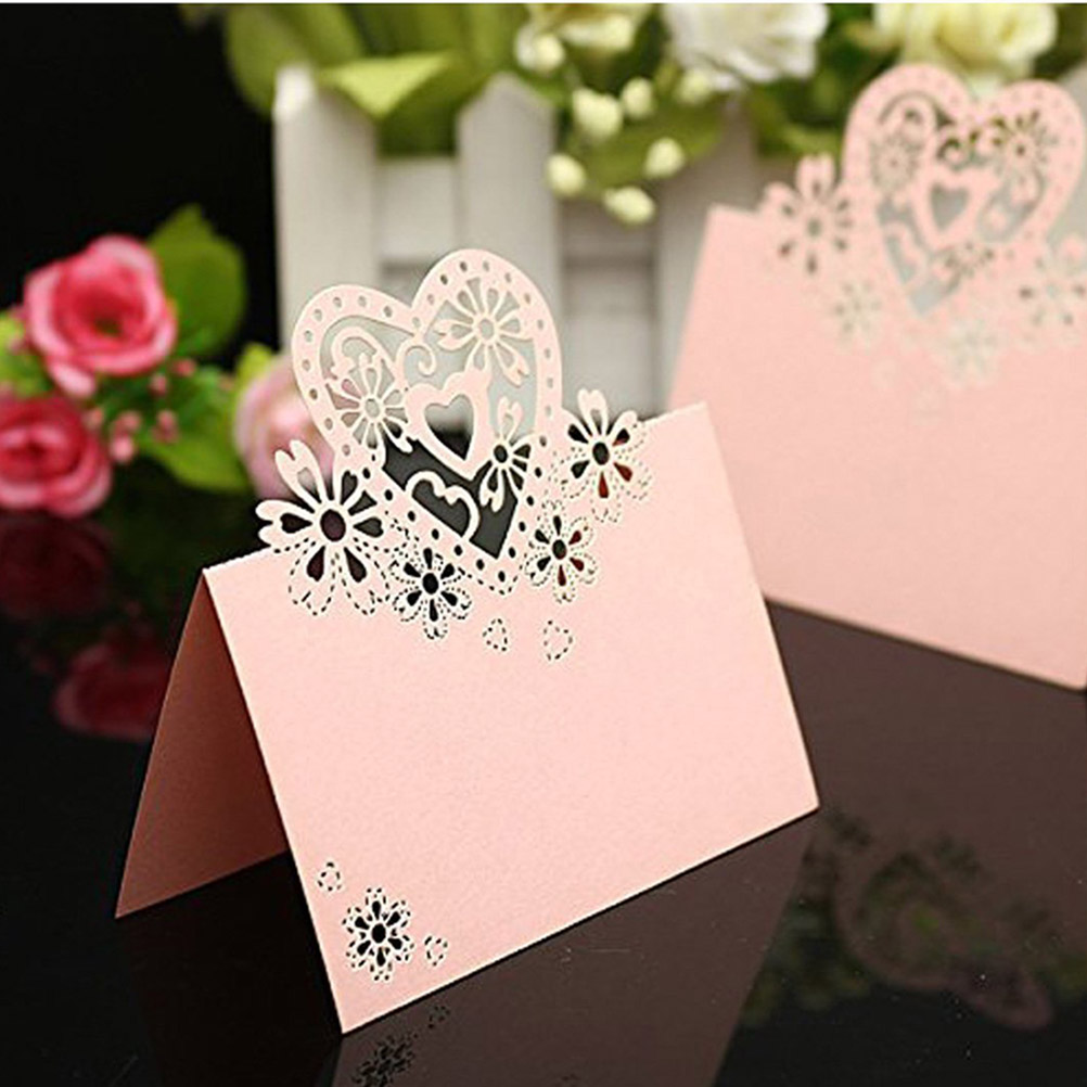 50pcs Love Heart Heart Shape Place Card Wedding Birthday Party Wine ...