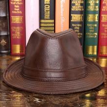 Male 100% Genuine Leather Jazz Hat Adult Fedoras Hat Male Sheepskin Fedoras Cap