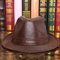 Male 100% Genuine Leather Jazz Hat Adult Fedoras Hat Male Sheepskin Fedoras Cap Men's Wide Brim Leather Cowboy Hat B 7284