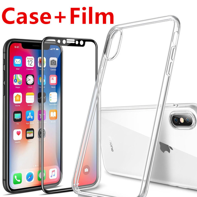 best service e1c85 2916e US $7.01 45% OFF|For Apple iPhone X 10 Screen Protector Tempered Glass Full  Cover 3D 4D Curved Edge Protective Film Full Coverage + TPU Case-in Phone  ...