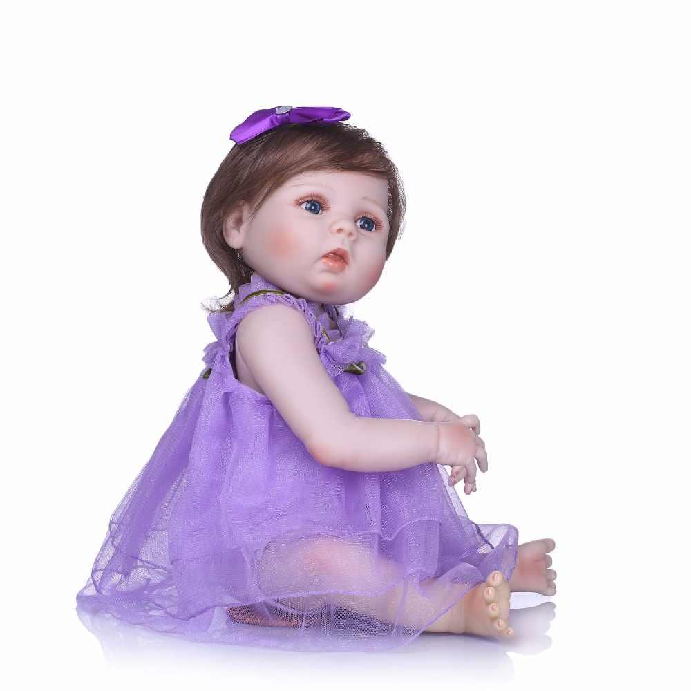 """NPK 22 """"muñeca renacida de silicona de cuerpo completo bebés reborn entrar en agua con botella de chupete bebe vivo reborn bonecas regalo de los niños"""