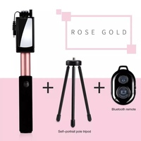 3 In 1 Wireless Bluetooth Selfie Stick With Mirror Mini Tripod Extendable Monopod Universal For IPhone