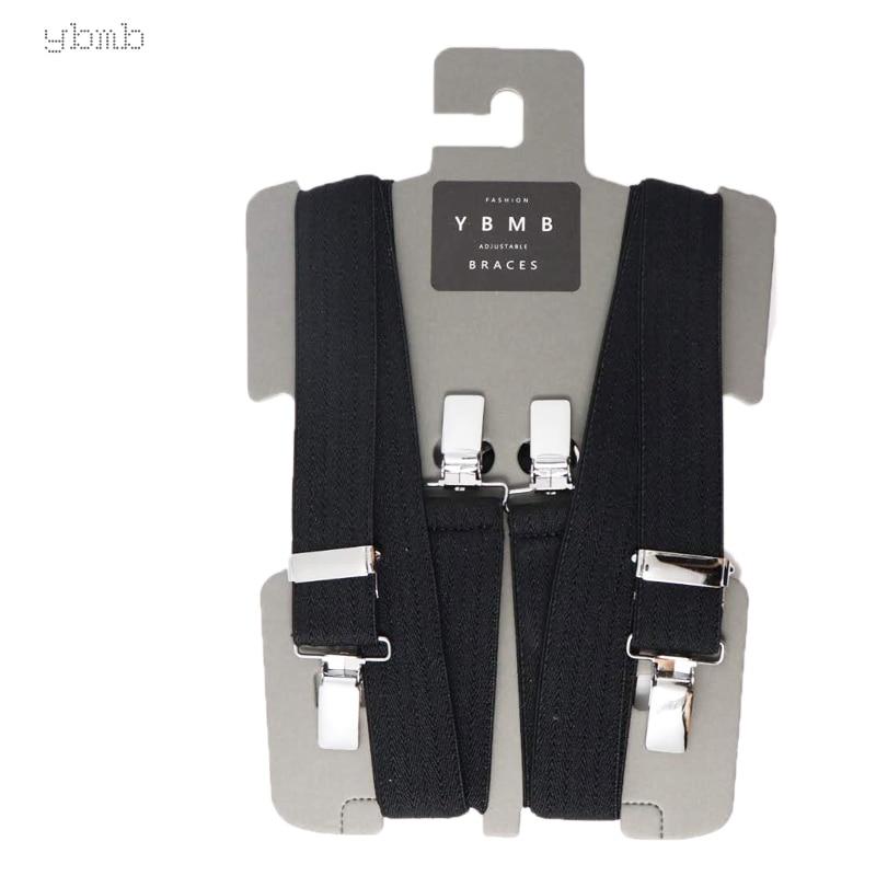 YBMB Fashion Shirt Suspenders  25MM  Chassic X Back 4 Clip Braces Unisex Adjustable Suspender Brand Belt Elastic Trouser Straps