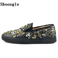 SHOOEGLE New Men Embroidery Crystal Flat String Beading Sneakers Fashion Show Rhinestone Slip on Men Runway Chaussures Hommes