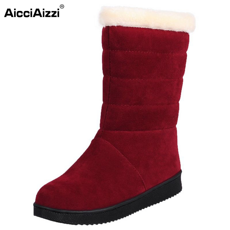 Women Half Short Boots Flat Winter Thicken Fur Warm Mid Calf Boot Bota Feminina Gladiator Botas Footwear Shoes Size 32-40