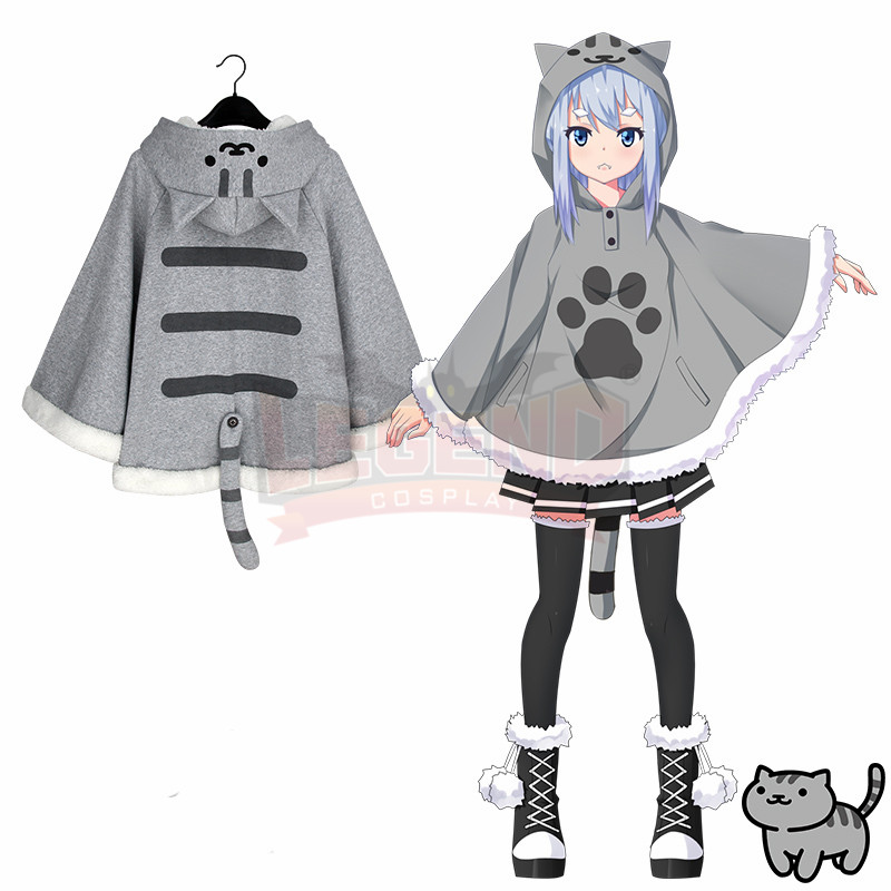 Neko Atsume cape cloak blanket grey yellow cat cosplay costume Autumn and winter use top outfit