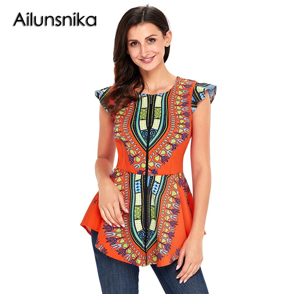 Ailunsnika 2018 Favourite Orange African Printed Zipper Front Peplum Summer Sleeveless Office Lady Tops Womens Elegant Shirt