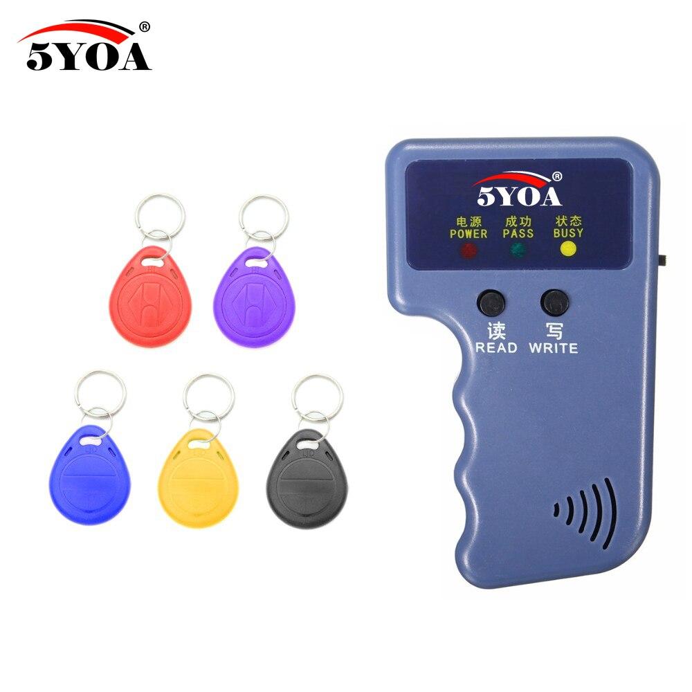 Handheld 125 KHz EM4100 RFID Copier Writer Duplizierer Programmer Reader + 5 Stücke EM4305 T5577 Wiederbeschreibbare ID Keyfobs Tags Karten