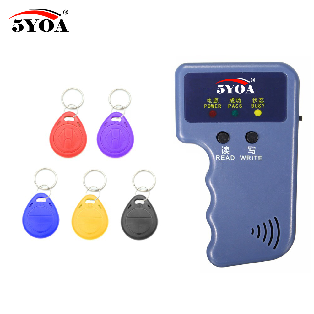 Handheld 125KHz EM4100 RFID Copier Writer Duplicator Programmer Reader + 5 Pcs EM4305 T5577 Rewritable ID Keyfobs Tags Card handheld 125khz em4100 rfid copier writer duplicator programmer reader 5pcs t5577 em4305 rewritable id keyfobs tags card