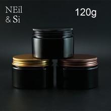 Frasco de creme recarregável para corpo, recipiente de plástico preto para loção 120g