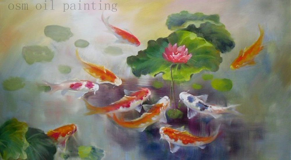 Handmade Modern Landscape Fish in the Flower River Swim Knife Oil Painting Wall Art Painting Home Decor Hang Pictures Craft