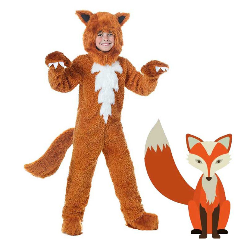 Fox Parent-child Costume Children or Adult Animal Onesies Yellow Fox Cosplay Costume Fancy Dress Jumpsuit with Hat