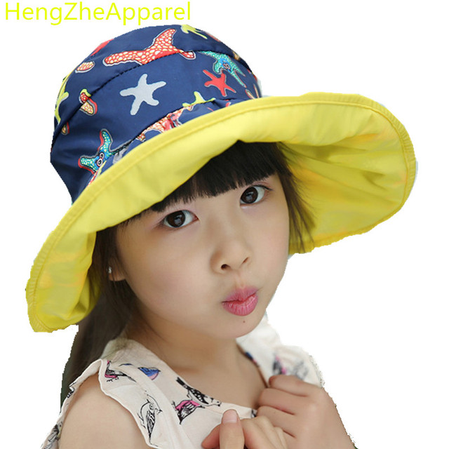 e63e42ba floral foldable Anti-UV Waterproof sunscreen children sun hat girls summer  beach cap baby fashion