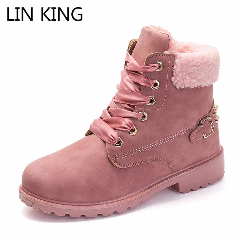 LIN KING New Warm Plush Women Winter Shoes Lace Up Ladies Rivets Short Boots Cotton Padded Short Botas Solid Work Safety Boots
