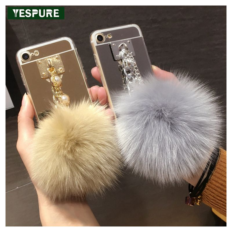 YESPURE Luxury Metal Bracelet Back Cover For Iphone 6 Plus Cute Ful Ball Soft Silicone Fan