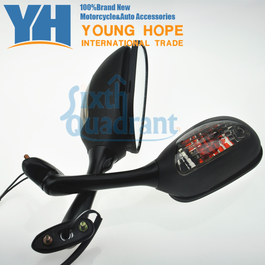 fit for Suzuki GSXR 600 750 1000 Custom Cool Motorcycle Rearview Mirrors with Turn Signal Lights