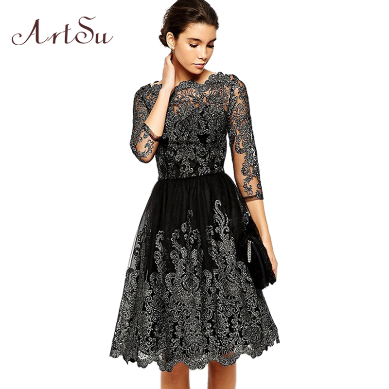 ArtSu Vintage Embroidery Lace Ball Gown Dress Women 3/4 Sleeve Slash Neck Elegant Party Sexy Dresses Autumn Vestidos ASDR30436