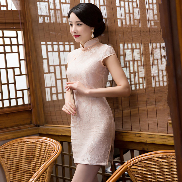Fengmeisi New Chinese Cheongsam Short Qipao Lace Pink Vintage Oriental Sexy Dress Women Tradicional Party Weeding