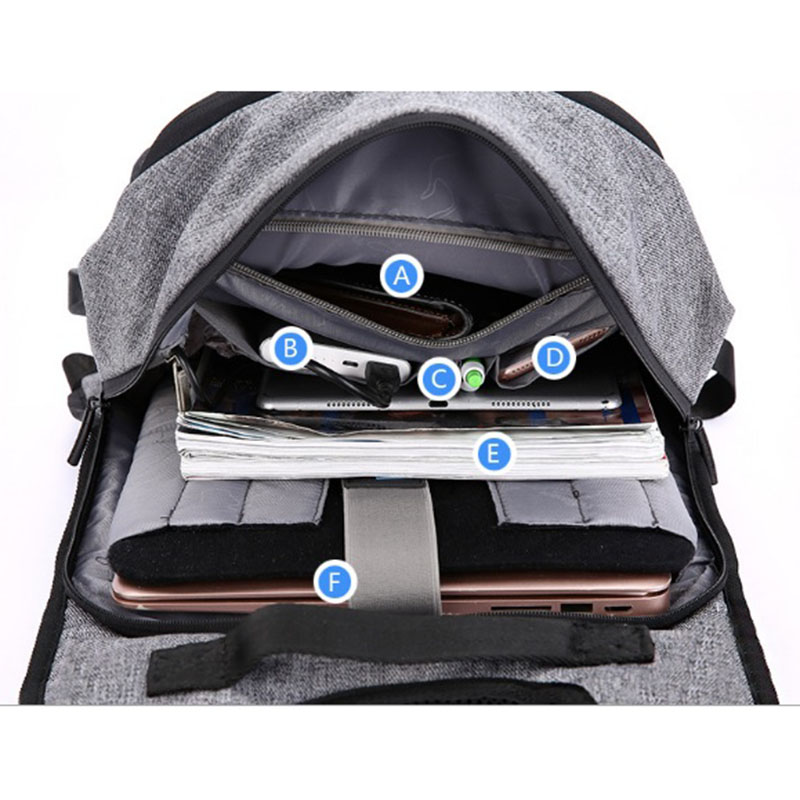 OZUKO toile sac à dos hommes USB Charge mot de passe serrure Anti-vol en trois dimensions sac à dos Style européen et américain sac de voyage - 5