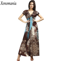 Animal Print Maxi Dresses Beach Dress Women Vestidos Ukraine Boho Dress 2017 Summer Robe Femme Plus