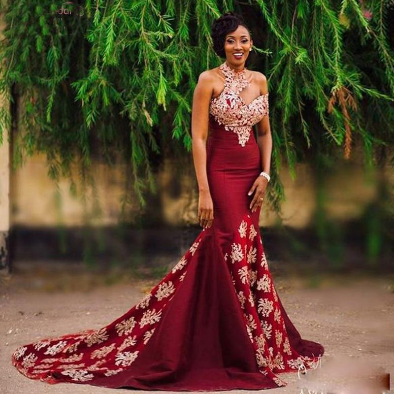 Dark Red Mermaid Prom Dresses Halter African Evening