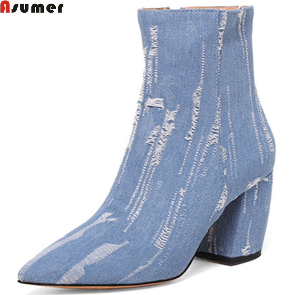 ASUMER 2018 fashion new arrivel women shoes pointed toe zipper ladies boots denim square heel spring autumn ankle boots nemaone 2018 women ankle boots square high heel pointed toe zipper fashion all match spring and autumn ladies boots