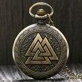 Triángulo Vintage Valknut nórdico de los Vikingos de bronce collar de reloj de bolsillo de cuarzo cadena tres enclavamiento reloj regalos de la amistad