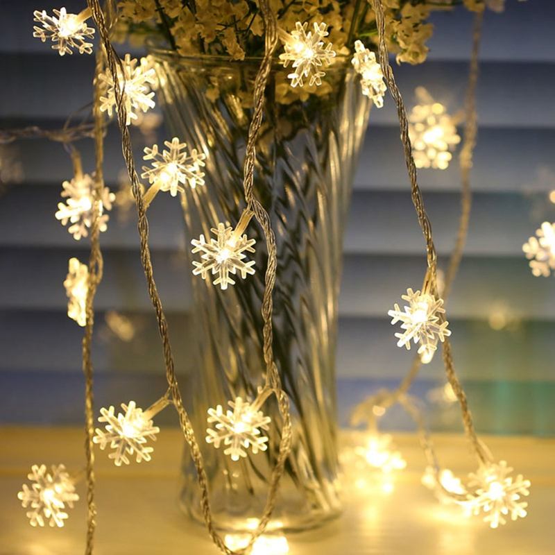 2-10M LED Snowflake String Fairy Lights Garland Decoration For Christmas Tree New Year Room Valentine's Day Battery Powered