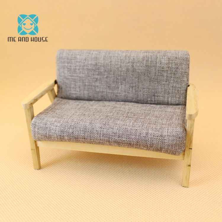 Miniature Doll House Sofa Sets Dollhouse Wooden Modern Manual Settee 1/12 Scale OB11