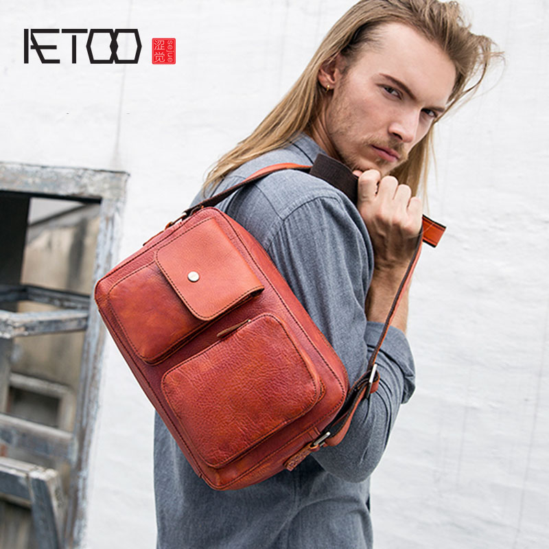 AETOO Original handmade Japan and South Korea leather Messenger bag men shoulder bag tannage casual men's bag horizontal leather aetoo pure leather europe and the united states japan and south korea fashion retro bag leather leather casual daily travel back