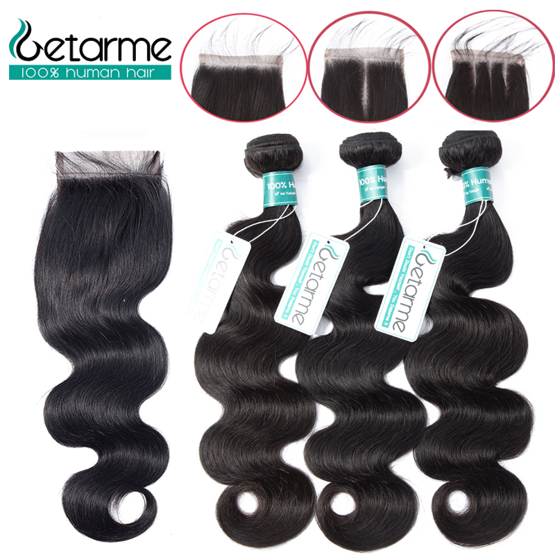 Human Hair Weaves Sweet-Tempered Malaysian Body Wave Bundles With Closure 100% Human Hair Bundles With Lace Closures Non-remy Hair Natural Color The Latest Fashion