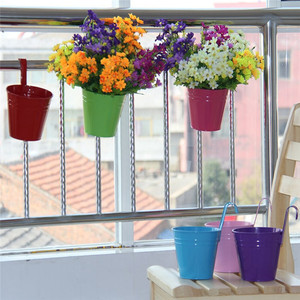 Image 3 - Flower Pots Outdoor Metal Iron Hanging Balcony Planter 6 Pcs Different Colourf succulent can decorative garden