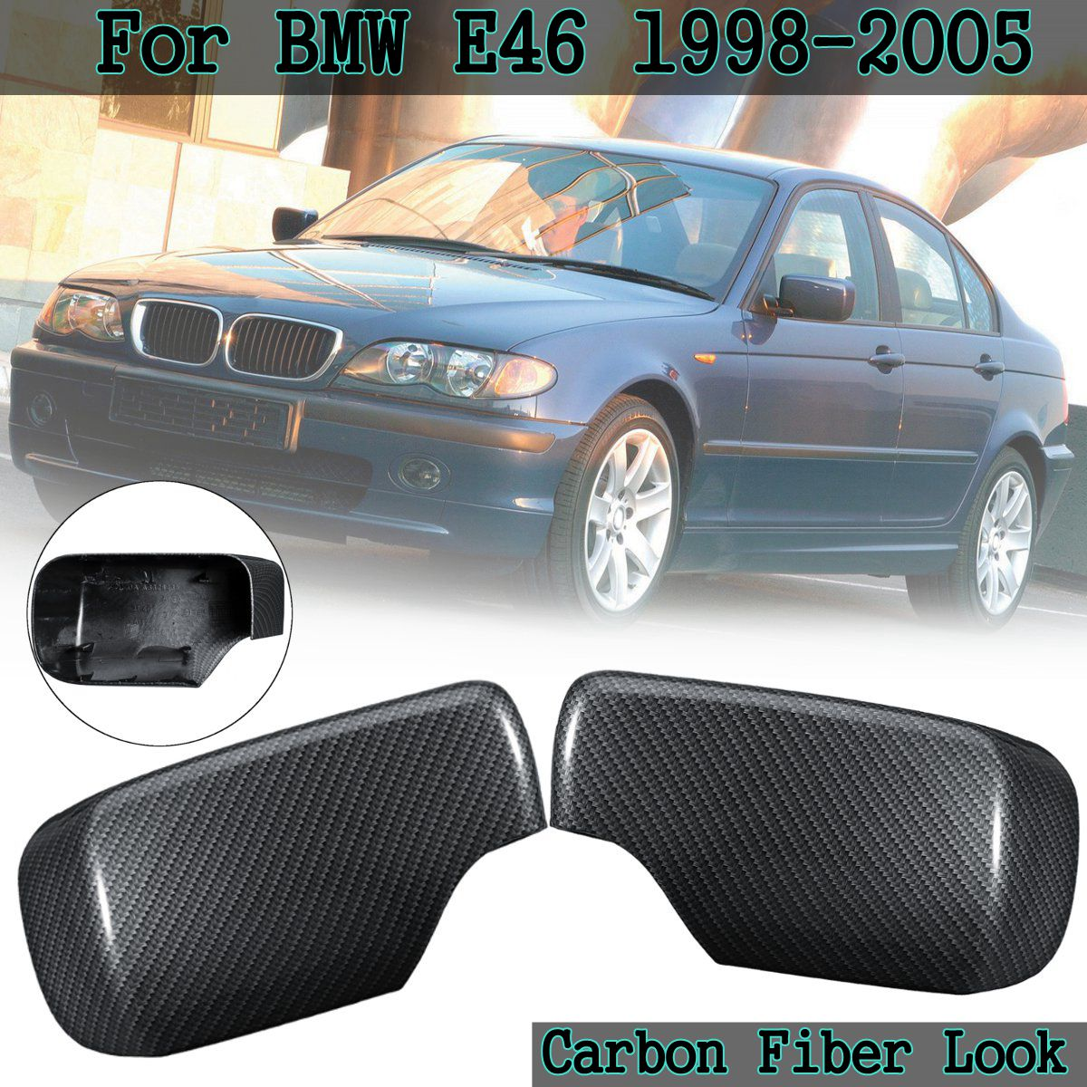 1 Pair Car Styling Carbon Fiber Wing Door Rearview Heated Mirrors Cap Mirror Covers For BMW E46 1998 2005