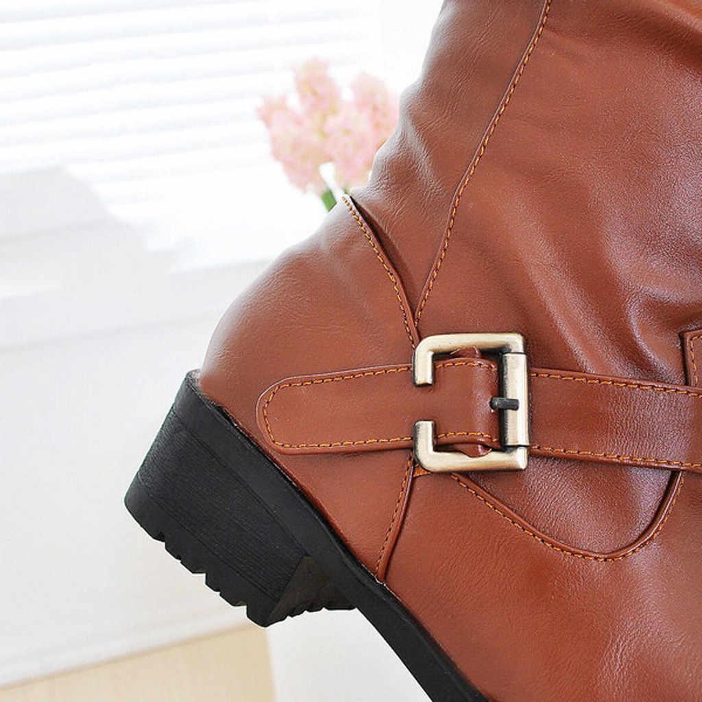 ฤดูหนาวรองเท้าผู้หญิงหนังเข่าสีดำสุภาพสตรีรองเท้าส้นฤดูหนาวรองเท้าผู้หญิงกันน้ำ botines mujer 7 #3.5