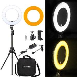 "Image 2 - ZOMEI 14 ""ניתן לעמעום LED סטודיו טבעת אור צילום תאורה איפור מנורת עבור מצלמה תמונה טלפון Selfie Youtube וידאו ירי"