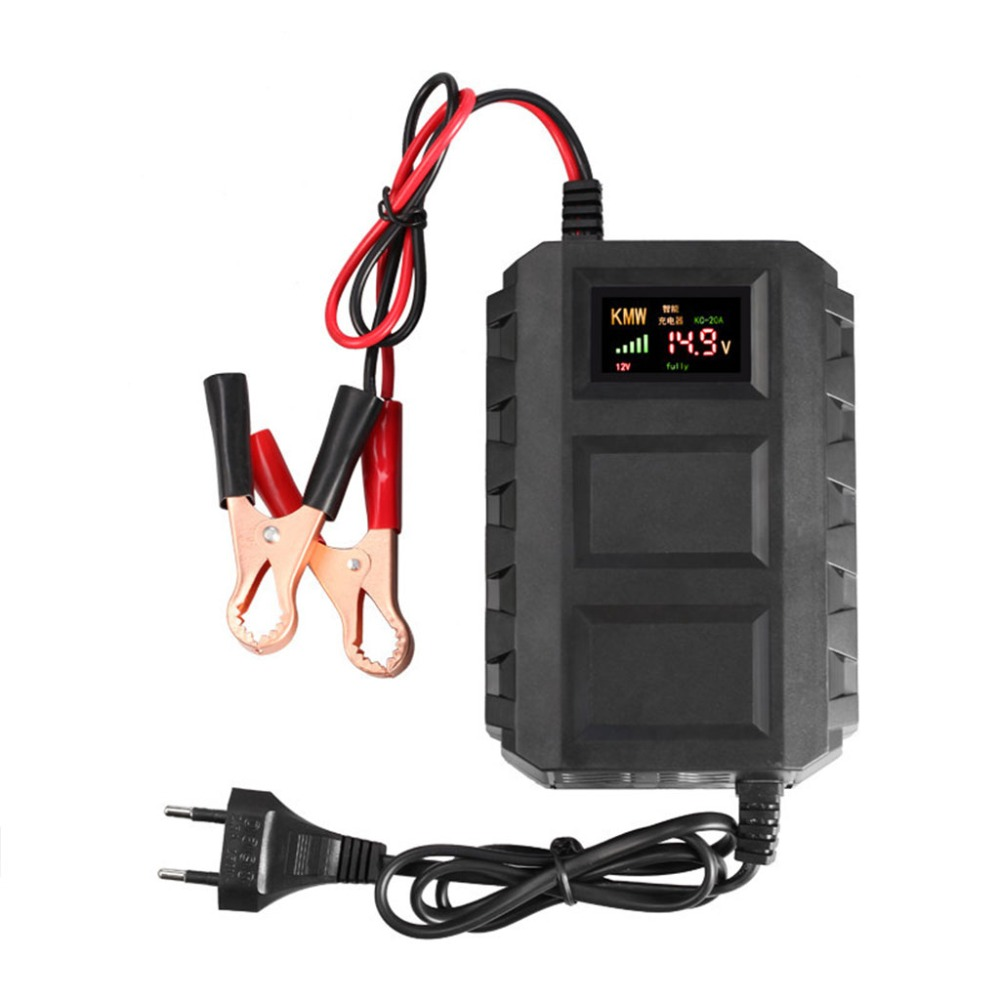 Free Shipping High Quality Intelligent 20A Automobile Battery Lead Acid Battery Charger Car Motorcycle EU / US Plug