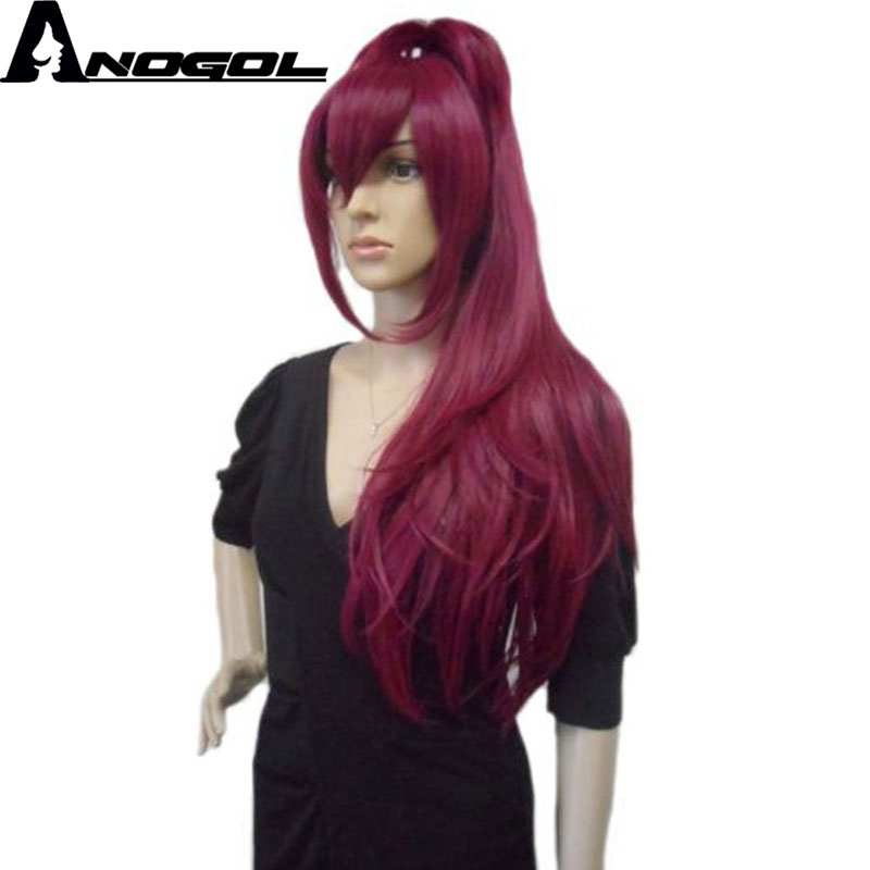 Anogol Magi High Temperature Fiber Natural Long Straight Wine Red Ponytail Synthetic Cosplay Wig For Halloween