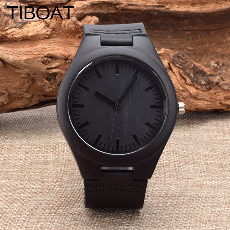 TIBOAT 2017 New Fashion 100% Natural Black Wood Watches Men's Luxury Vintage Watch For Men With Gift Box Accept Dropshipping bobo bird brand new sun glasses men square wood oversized zebra wood sunglasses women with wooden box oculos 2017