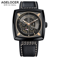 Agelocer Swiss Mens Sport Watches Automatic Skeleton Watch Steel Waterproof Mechanical Watch with Gift Box reloj hombre 5603J3