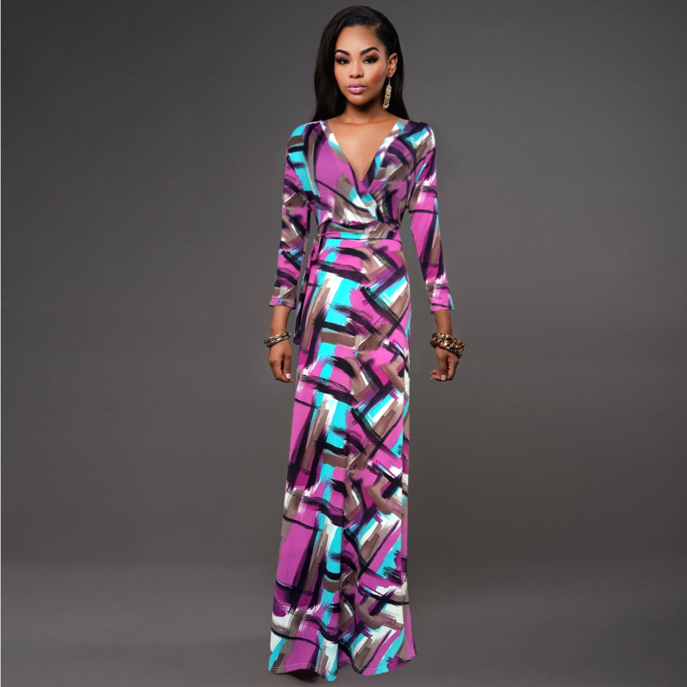 L 5xl High Quality New Fashion 2016 Designer Maxi Dress Women 39 S Short Sleeve Deep V Neck Printed