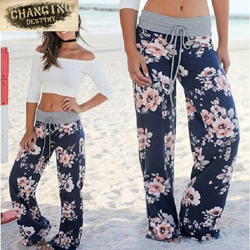 New Hot Womens Lady Loose Casual Harem   Pants   Print High Waist   Wide     Leg     Pants   Women's Flower Hip Hop Slacks Trousers